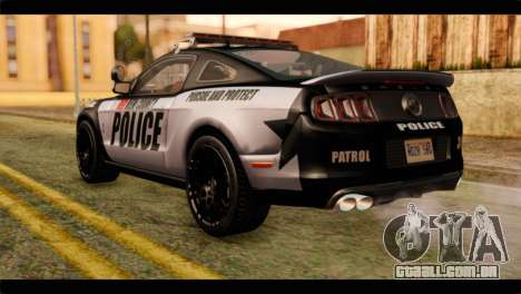 NFS Rivals Ford Shelby GT500 Police para GTA San Andreas esquerda vista