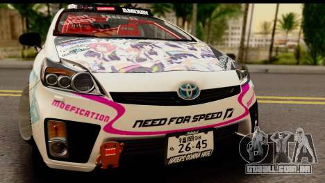 Toyota Prius Hybrid Eri Ayase Love Live Itasha para GTA San Andreas traseira esquerda vista