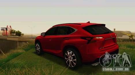 Lexus NX200T v2 para GTA San Andreas vista direita