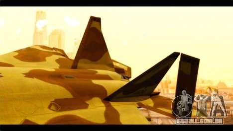 F-22 Raptor Desert Camouflage para GTA San Andreas traseira esquerda vista