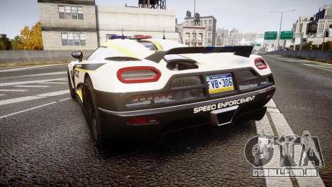 Koenigsegg Agera 2013 Police [EPM] v1.1 PJ1 para GTA 4 traseira esquerda vista