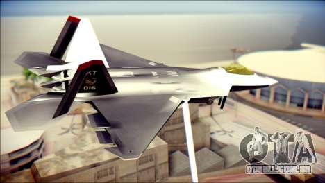 F-22 Raptor Razgriz para GTA San Andreas esquerda vista