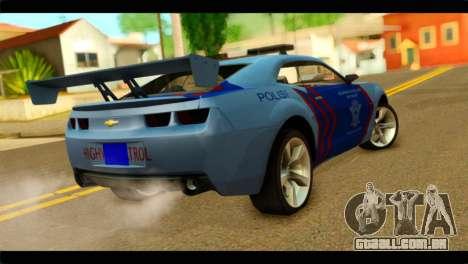 Chevrolet Camaro Indonesia Police para GTA San Andreas esquerda vista