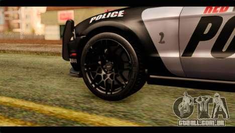 NFS Rivals Ford Shelby GT500 Police para GTA San Andreas traseira esquerda vista