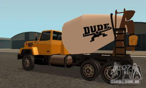 Cement Truck Fixed para GTA San Andreas traseira esquerda vista