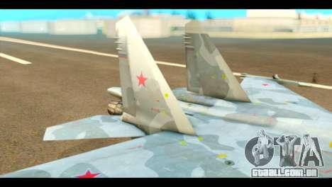 SU-37 Terminator Russian AF Camo para GTA San Andreas traseira esquerda vista