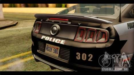 NFS Rivals Ford Shelby GT500 Police para GTA San Andreas vista traseira
