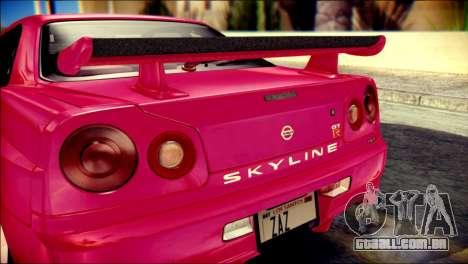 Nissan Skyline GTR V Spec II para GTA San Andreas vista traseira