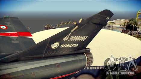 Dassault Mirage 2000-10 Black para GTA San Andreas traseira esquerda vista