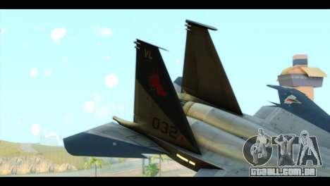 F-15C Eagle para GTA San Andreas traseira esquerda vista