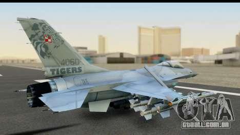 F-16C Polish Air Force Tigers para GTA San Andreas traseira esquerda vista