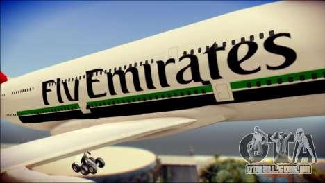 Airbus A380-800 Fly Emirates Airline para GTA San Andreas vista traseira