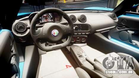 Alfa Romeo 4C 2014 HD Textures para GTA 4 vista de volta