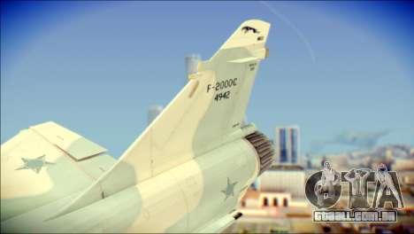 Dassault Mirage 2000-C FAB para GTA San Andreas traseira esquerda vista