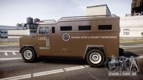 GTA V Brute Police Riot [ELS] skin 1 para GTA 4 esquerda vista