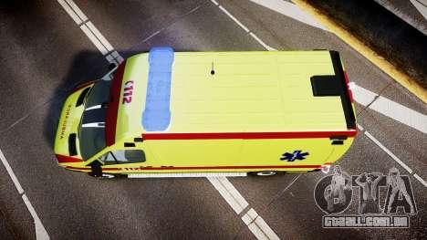 Mercedes-Benz Sprinter 311 cdi Belgian Ambulance para GTA 4 vista direita