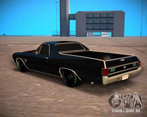 Chevrolet El Camino SS Green Hornet para GTA San Andreas traseira esquerda vista