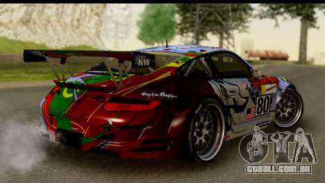 Porsche 911 GT3 RSR 2007 Flying Lizard para GTA San Andreas esquerda vista
