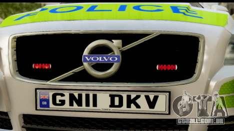 Volvo V70 Kent Police para GTA San Andreas traseira esquerda vista