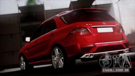 Mercedes-Benz ML 63 AMG 2014 para GTA San Andreas traseira esquerda vista