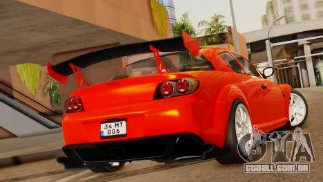 Mazda RX8 Drifter para GTA San Andreas esquerda vista