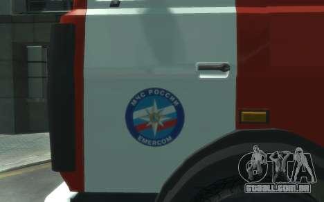 MAZ 533702 de EMERCOM da Rússia para GTA 4 esquerda vista