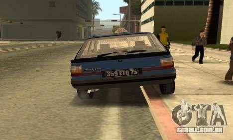 Renault 11 TXE Taxi para GTA San Andreas vista traseira