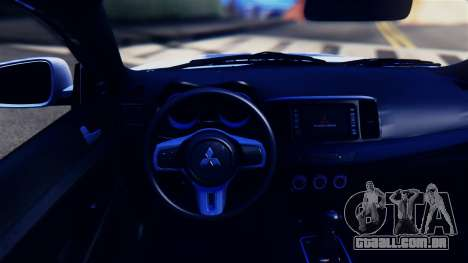 Mitsubishi Lancer Evolution X para GTA San Andreas vista interior