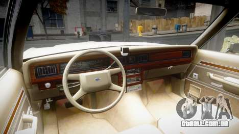 Ford LTD Crown Victoria 1987 Detective [ELS] para GTA 4 vista de volta
