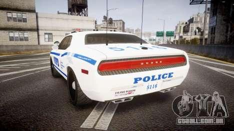Dodge Challenger NYPD [ELS] para GTA 4 traseira esquerda vista