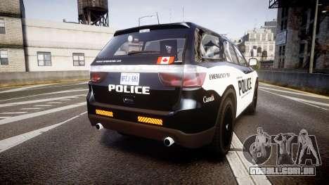Dodge Durango Alderney Police para GTA 4 traseira esquerda vista