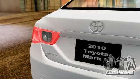 Toyota Mark X para GTA San Andreas vista direita