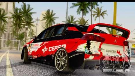 Mitsubishi Lancer Evo X Nunes para GTA San Andreas esquerda vista