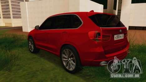 BMW X5 F15 2014 para GTA San Andreas traseira esquerda vista