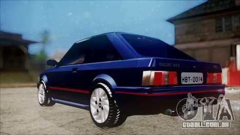 Ford Escort para GTA San Andreas traseira esquerda vista