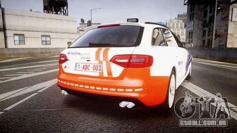 Audi S4 Avant Belgian Police [ELS] orange para GTA 4 traseira esquerda vista