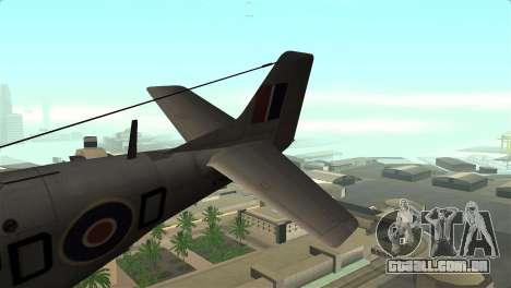 P-51D Mustang para GTA San Andreas traseira esquerda vista