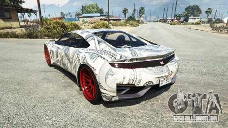 GTA 5 Dinka Jester (Racecar) Dollars traseira vista lateral esquerda