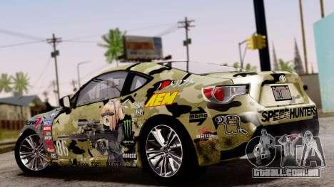 Toyota GT86 (ZN6) 2012 PJ para GTA San Andreas vista interior