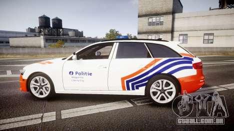 Audi S4 Avant Belgian Police [ELS] orange para GTA 4 esquerda vista