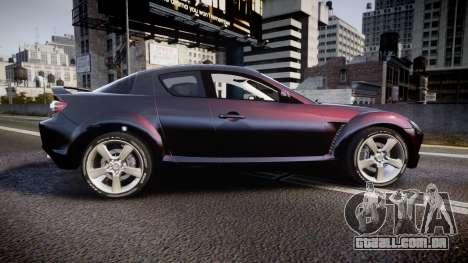 Mazda RX-8 2006 v3.2 Pirelli tires para GTA 4 esquerda vista