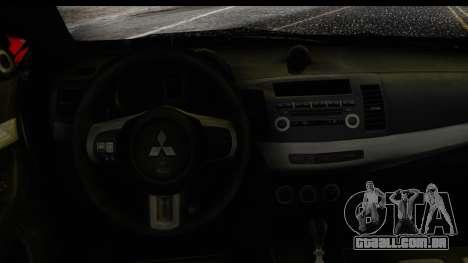 Mitsubishi Lancer Evo X Nunes para GTA San Andreas vista direita