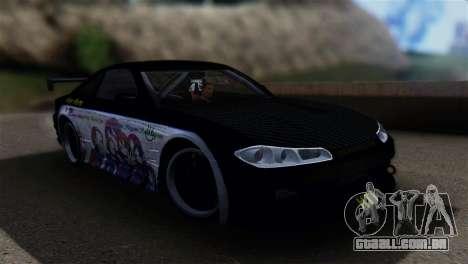 Nissan Silvia S15 K-on Itasha para GTA San Andreas traseira esquerda vista