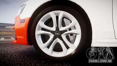 Audi S4 Avant Belgian Police [ELS] orange para GTA 4 vista de volta