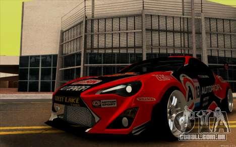 Toyota GT86 ZeroZver para GTA San Andreas traseira esquerda vista
