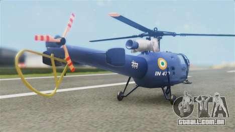 Indian Navy CHETAK Heli Skin para GTA San Andreas esquerda vista
