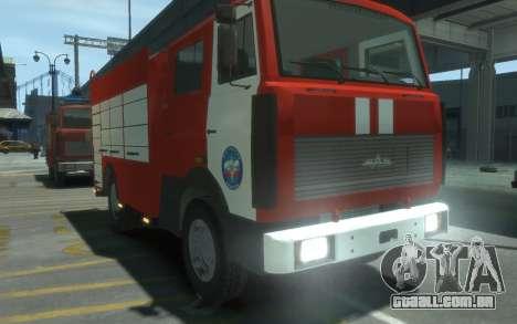 MAZ 533702 de EMERCOM da Rússia para GTA 4 vista direita