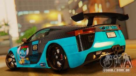 Lexus LFA 2010 OP Lilo para GTA San Andreas traseira esquerda vista