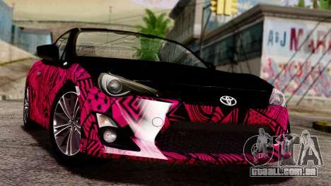 Toyota GT86 (ZN6) 2012 PJ para vista lateral GTA San Andreas