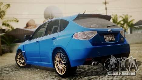 Subaru Impreza WRX STI 2008 PJ para GTA San Andreas esquerda vista